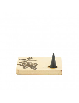 Wooden Square Flowers Incense Holder